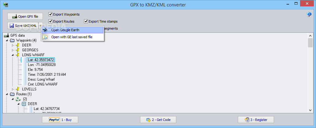 Download GPX to KMZ / KML converter 5 3 Build 053000