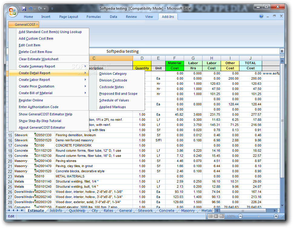 Generalcost estimator download Estimate building costs