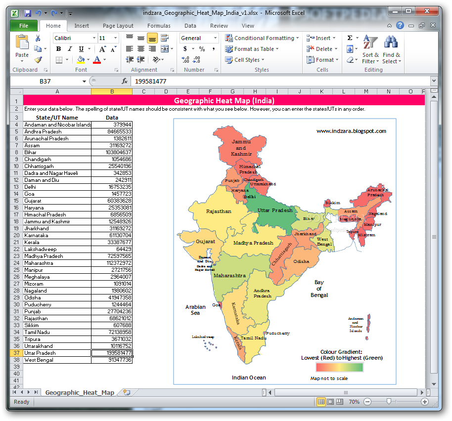 Download Geographic Heat Map (India)