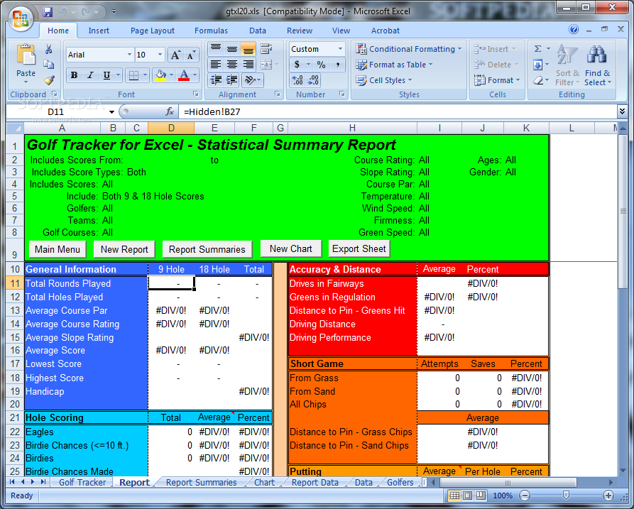Download Golf Tracker For Excel 2 0