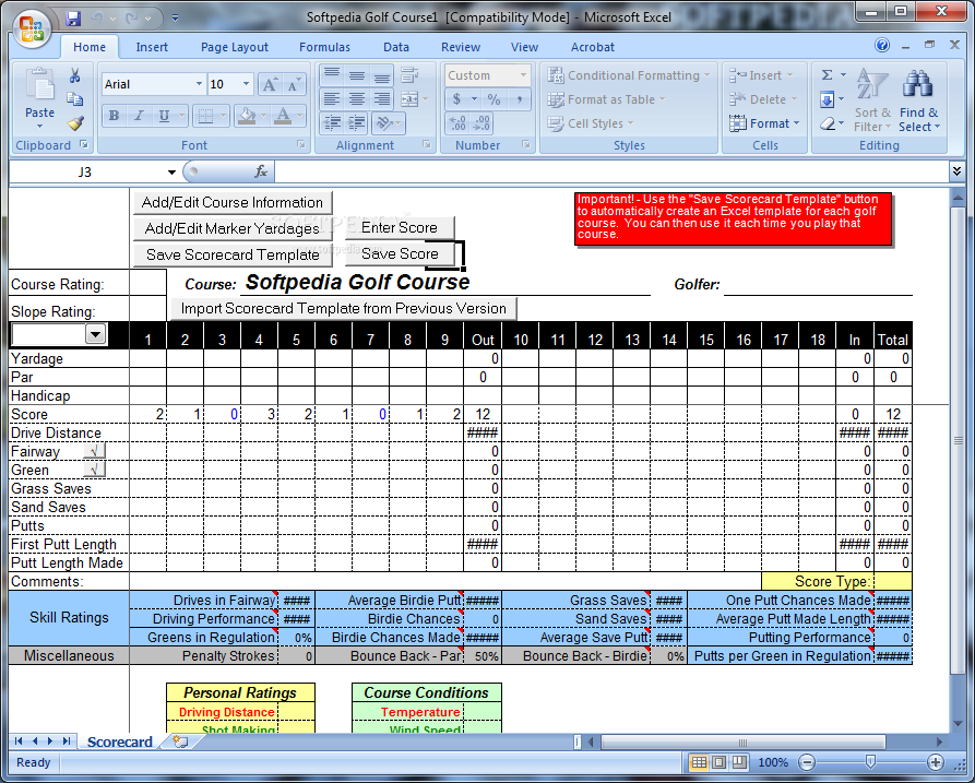 golf tracker for excel users will be able to access options such as add