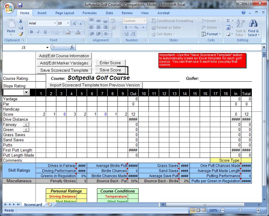 Download Golf Tracker For Excel 2 0