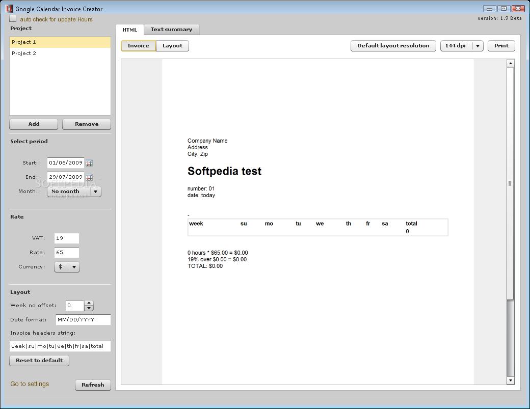 download google calendar invoice creator 1 9 beta
