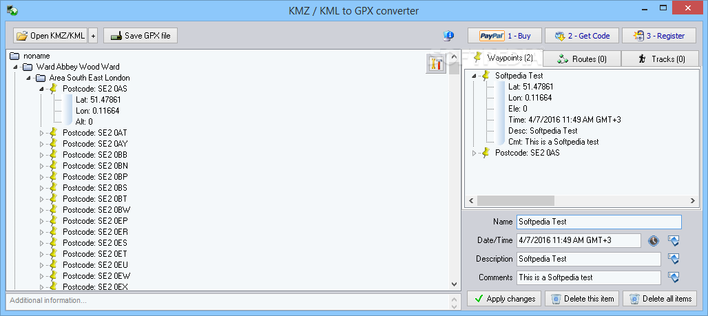 Download KMZ / KML to GPX converter 6 3 Build 063000