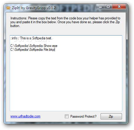 Gravity Gripp ZipIt! screenshot 1 - The application allows you to add files to a ZIP archive by entering the file paths in this window.