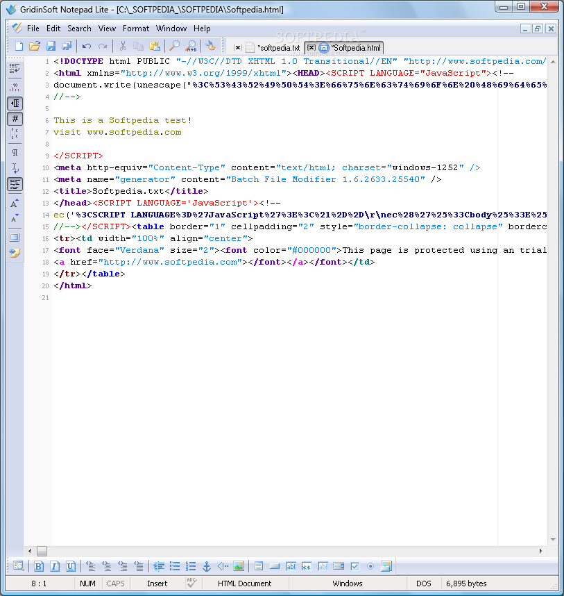 GridinSoft Notepad LITE screenshot 1 - GridinSoft Notepad LITE's main