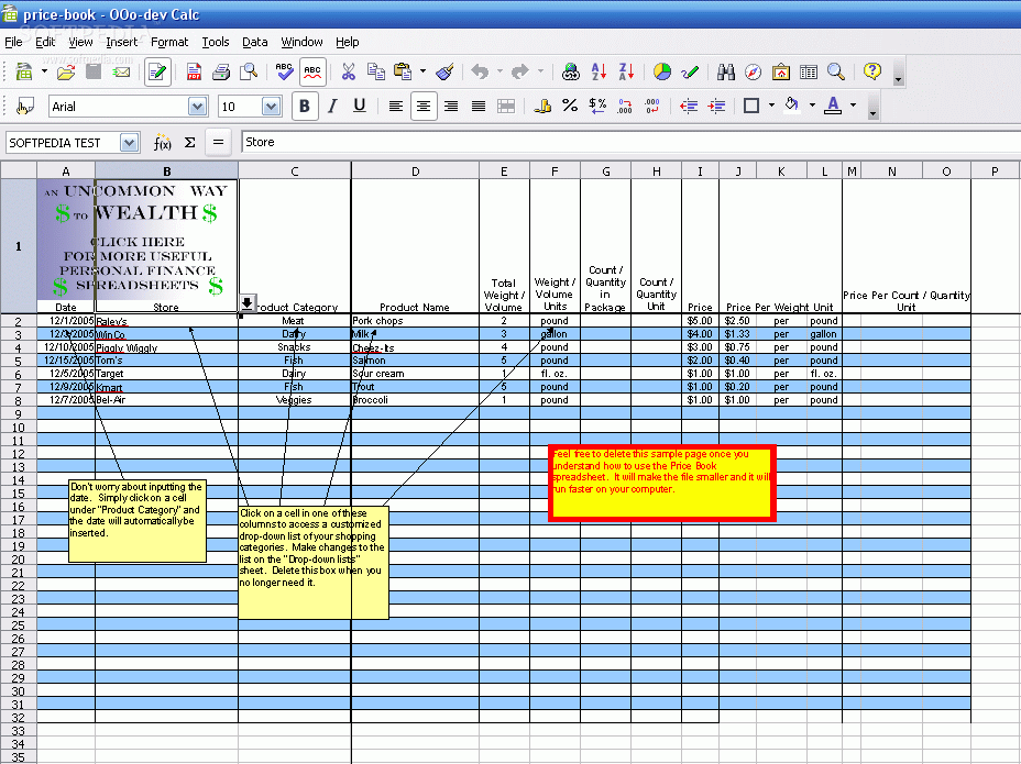 how to make a price book in excel