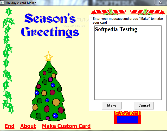 Holiday E-card Maker - The application enables you to enter custom ...: softpedia.com/get/multimedia/graphic/graphic-others/holiday-e-card...