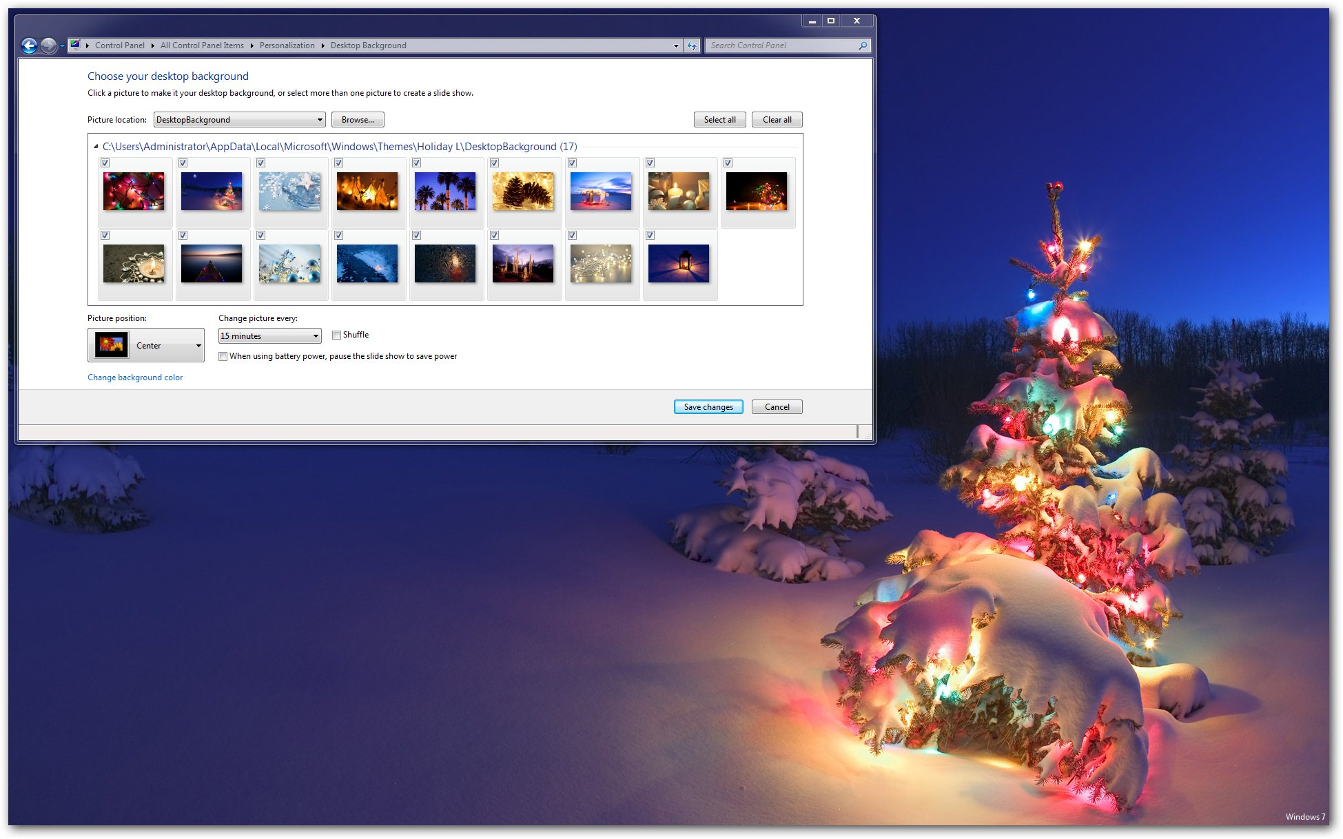 holiday lights windows 7 theme 1