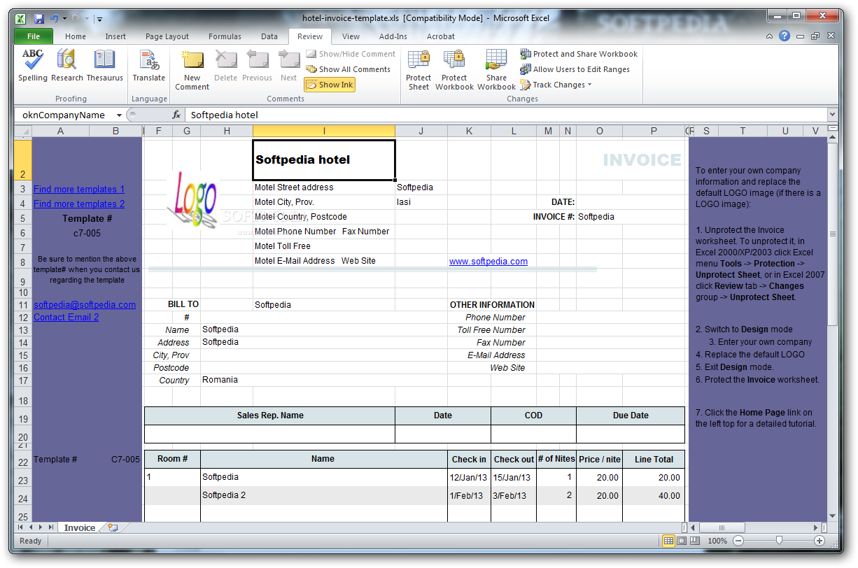 Download Hotel Invoice Template 110