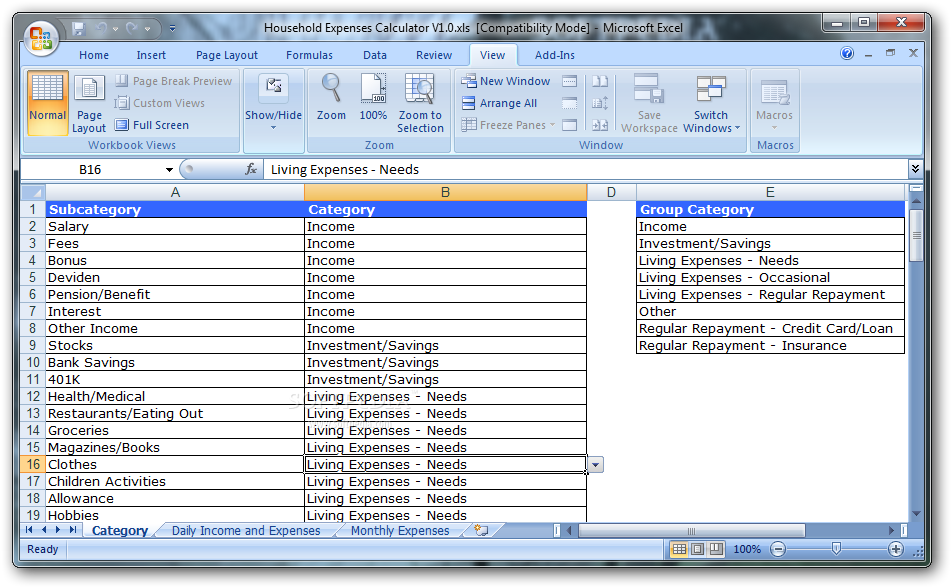 download household expenses calculator 10