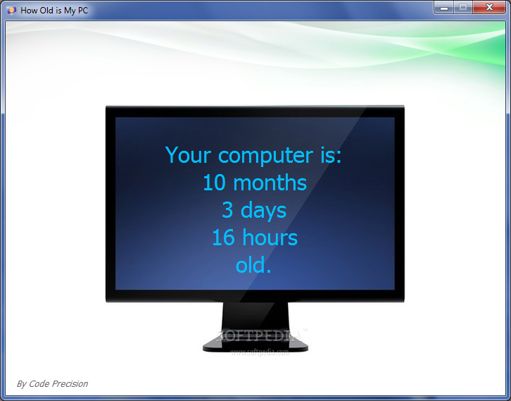 How Old Is My PC screenshot 1 - In the main window you can view how old is your PC.