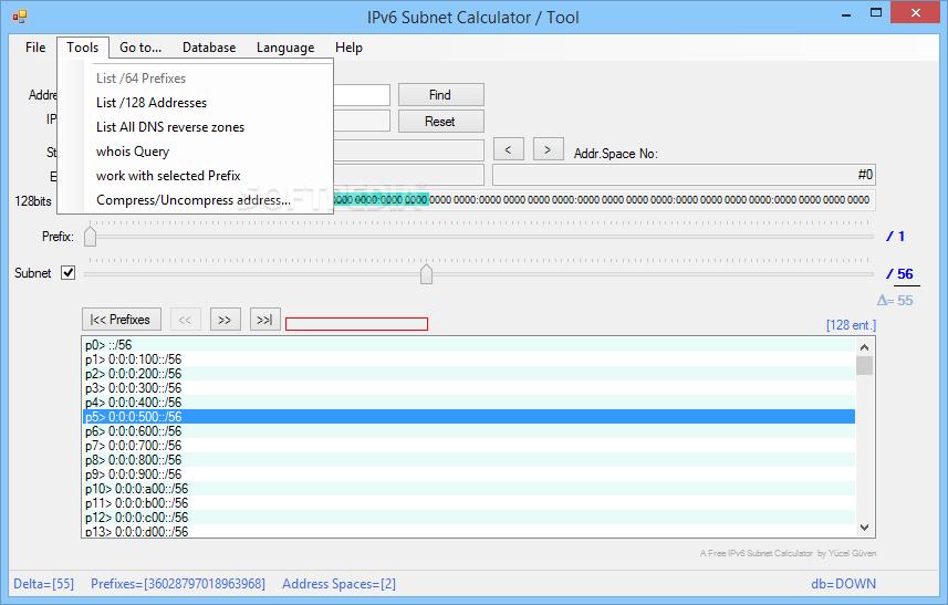 Download IPv6 Subnet Calculator / Tool 3 5 0 0