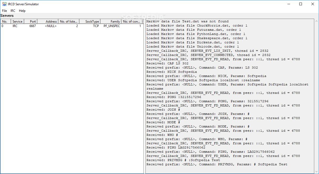 Download IRCD Server/Simulator 1 2