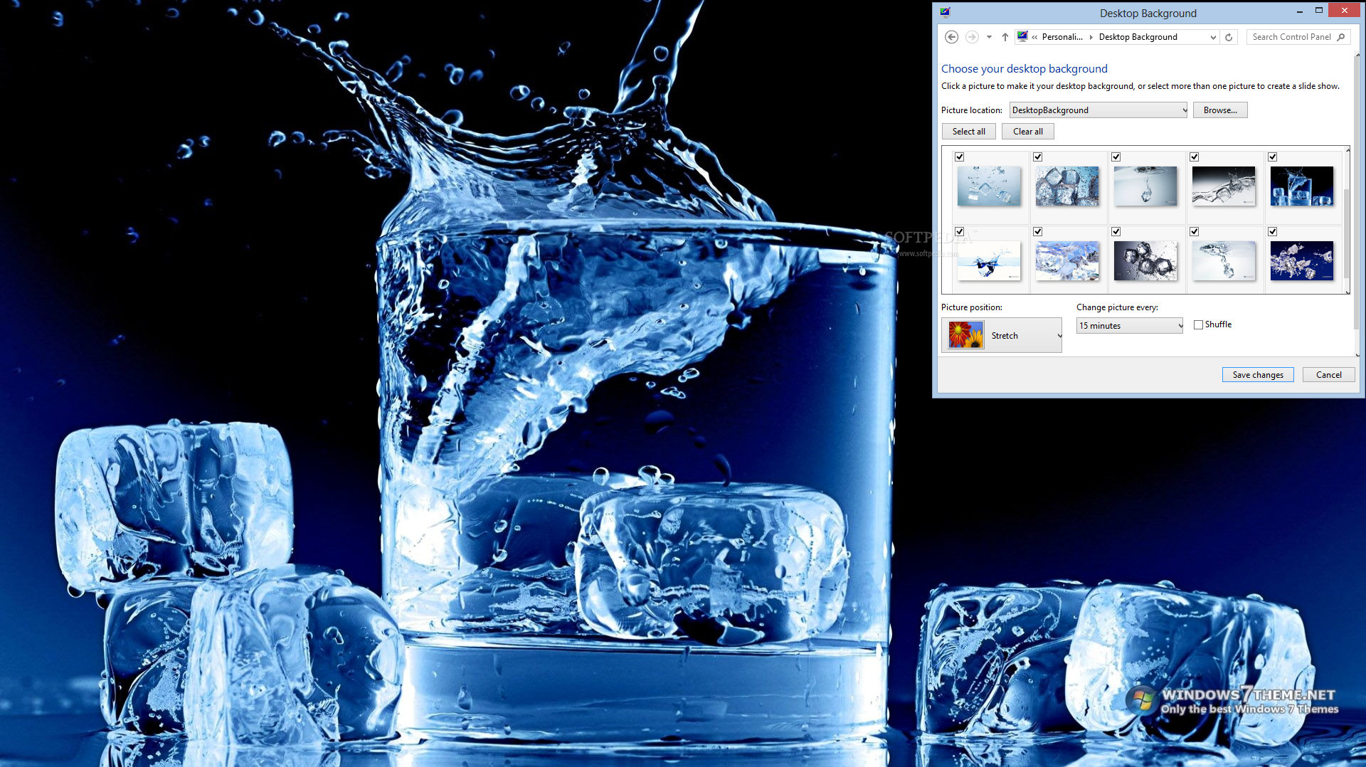 ice in water windows 7 theme 1
