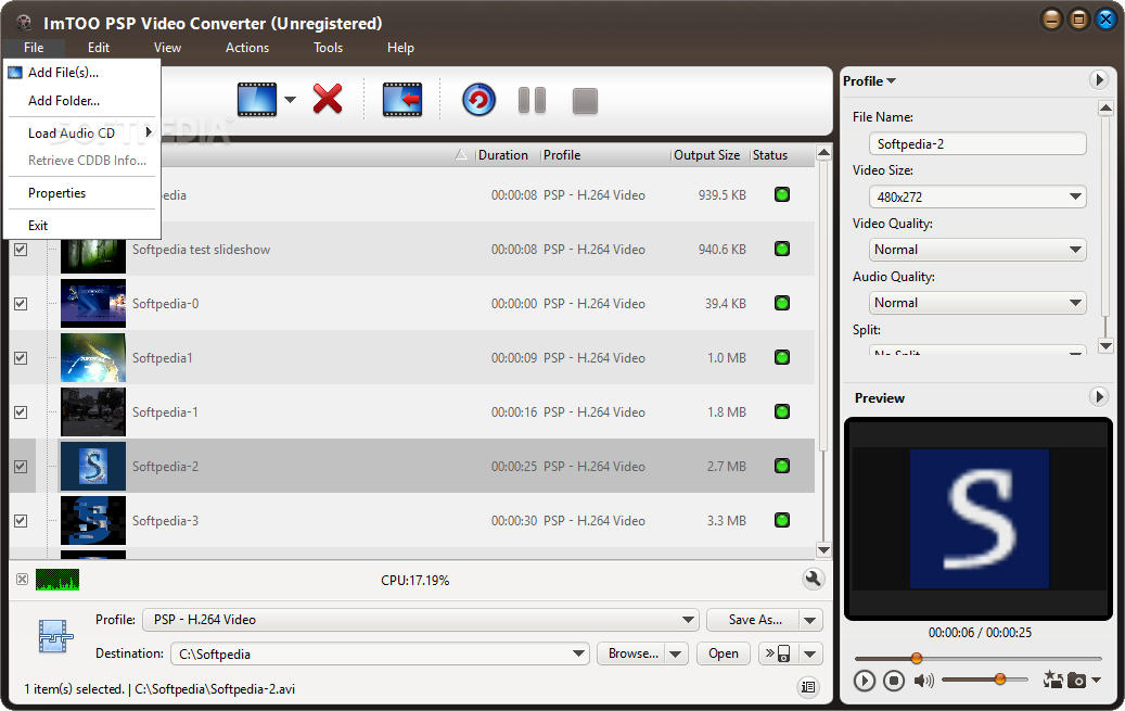 ImTOO PSP Video Converter screenshot 1 - The user can add files from.