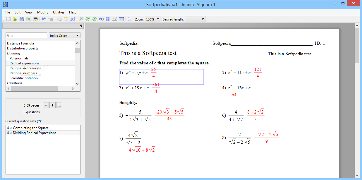 Download Infinite Algebra 1 2.40