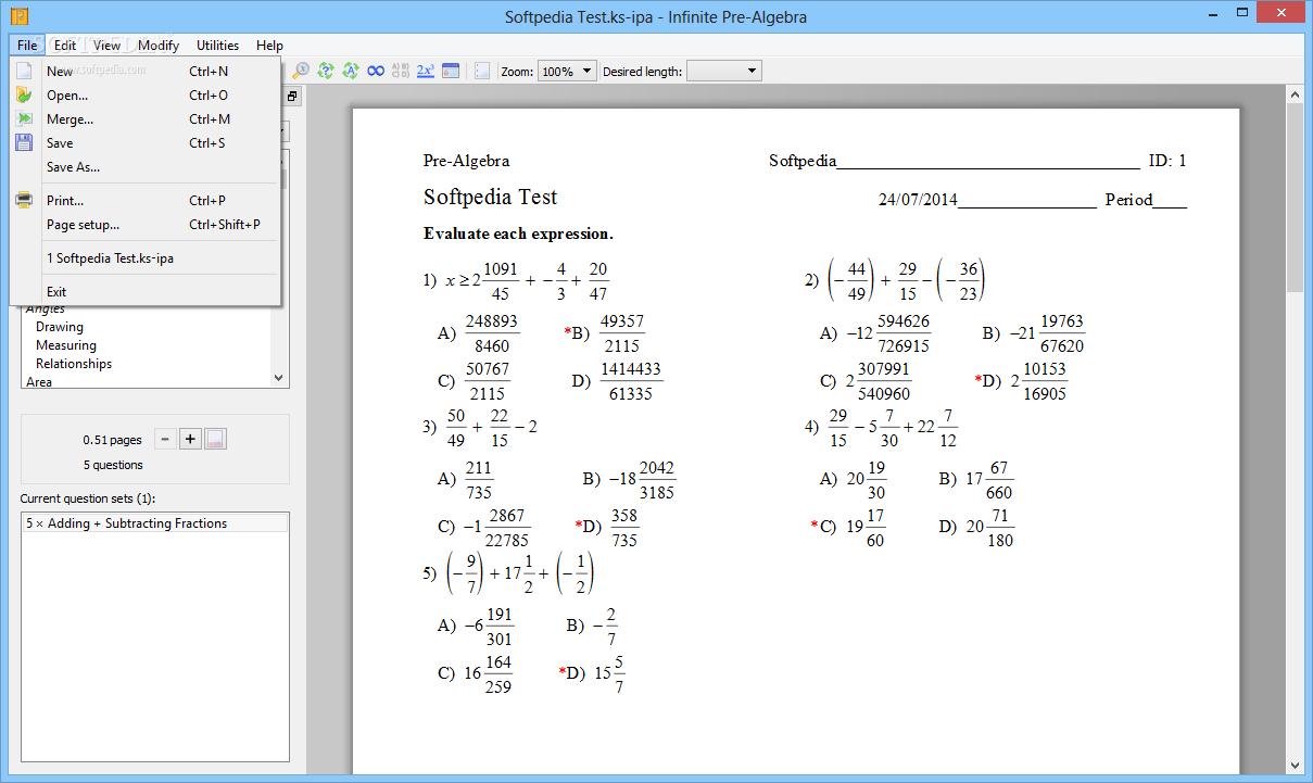 Download Infinite Pre Algebra 241