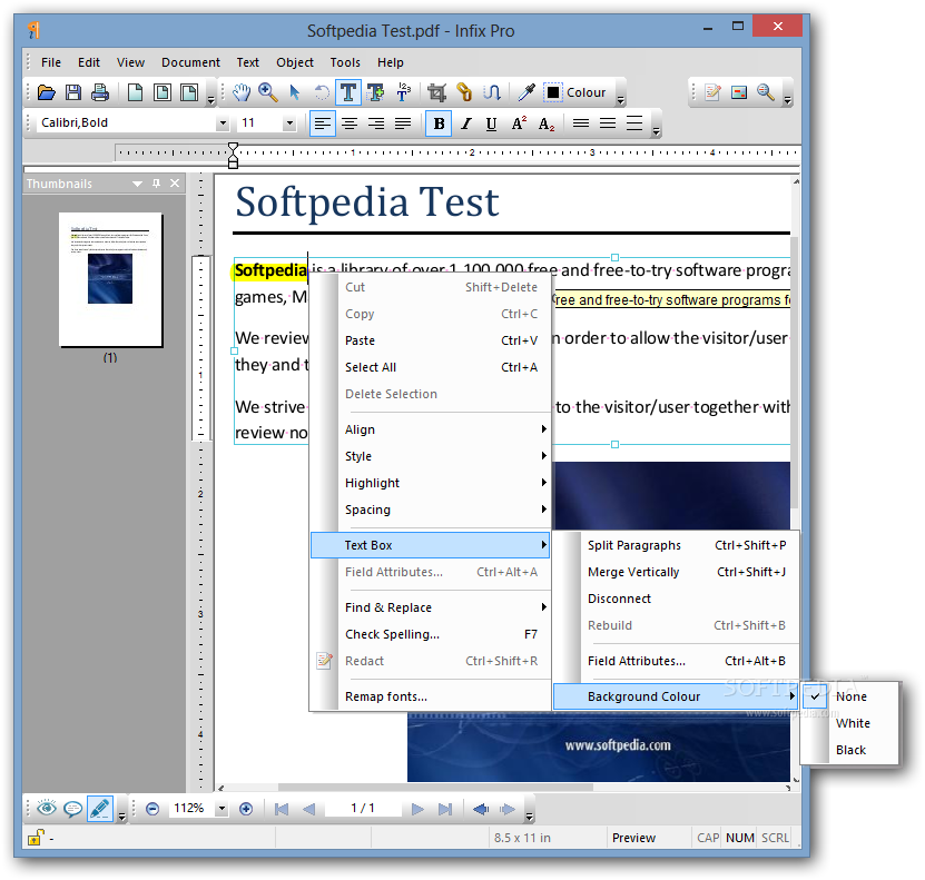 Infix Pro - The contextual menu of the document will help you quickly and e