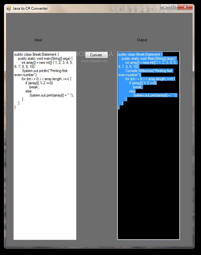 Java to c code converter
