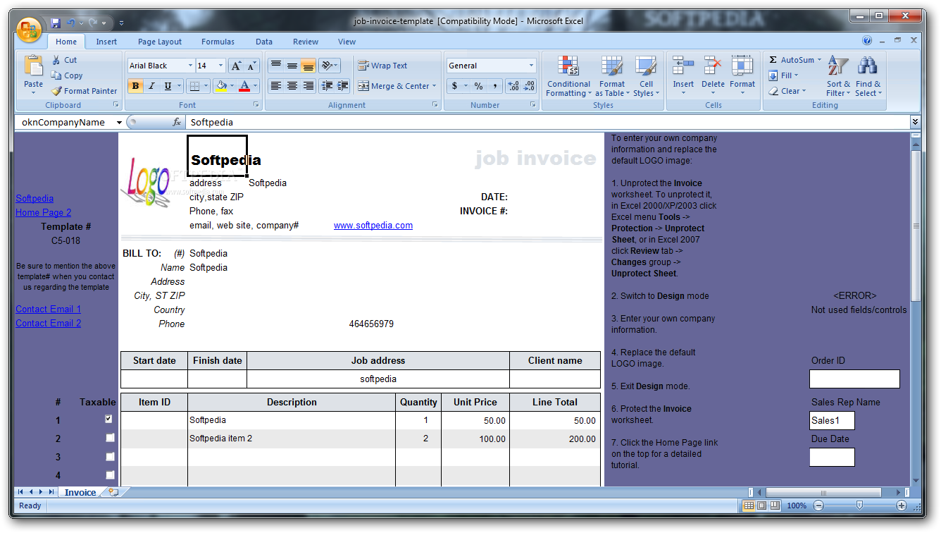 Job Invoice Template