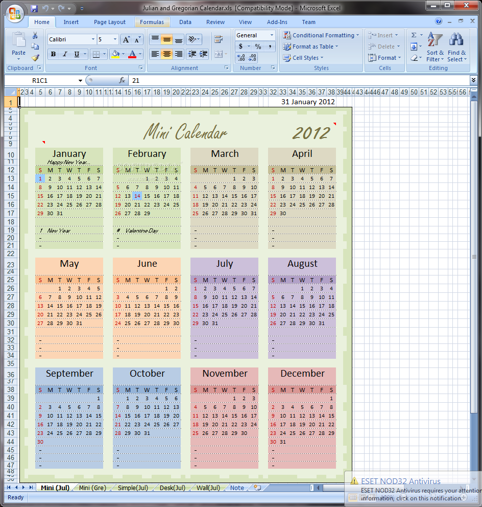 download julian and gregorian excel calendar 1