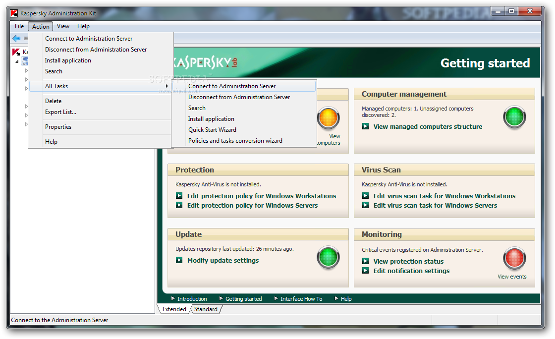 Clearing the kaspersky administration kit repository and re.