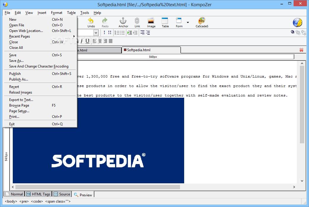 10 0: Download KompoZer 0.7.10 / 0.8b3