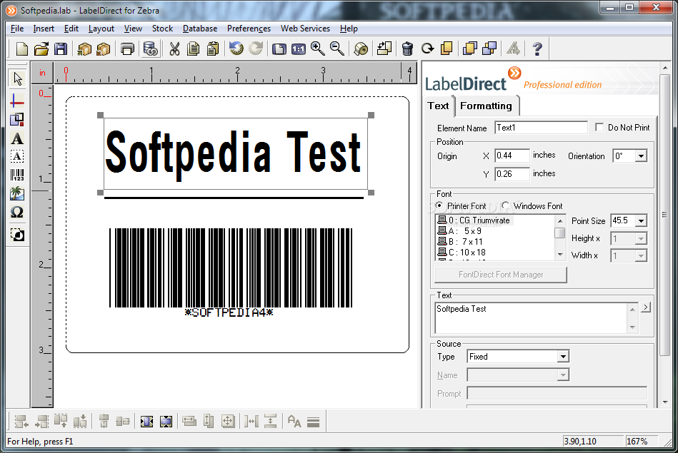 Zebra - The main window of the program allows you to design your label ...