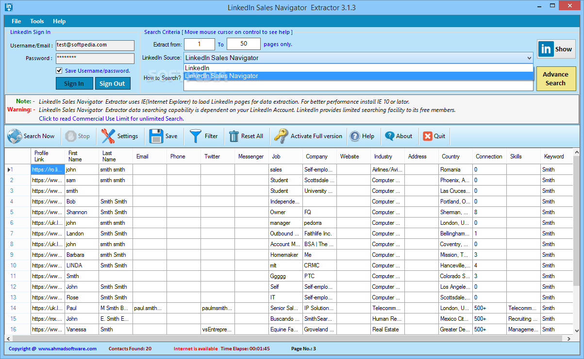 Download LinkedIn Sales Navigator Extractor 4 0 2101