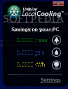 Local Cooling screenshot 1 - In the main window of Local Cooling, you will be able to view a report with all the savings on your PC.