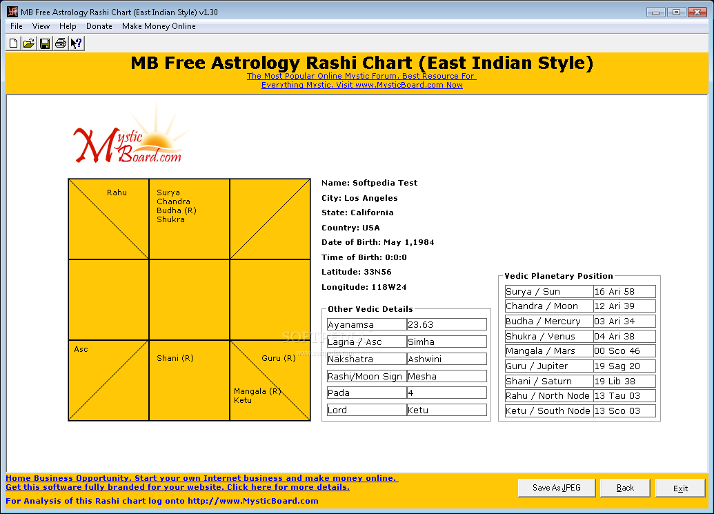 Download Mb Free Astrology Rashi Chart East Indian Style 130