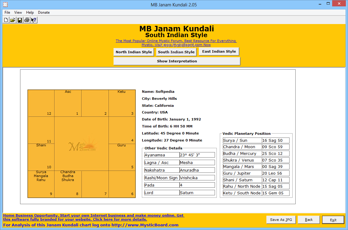 MB Janam Kundali - The application displays the calculated results in