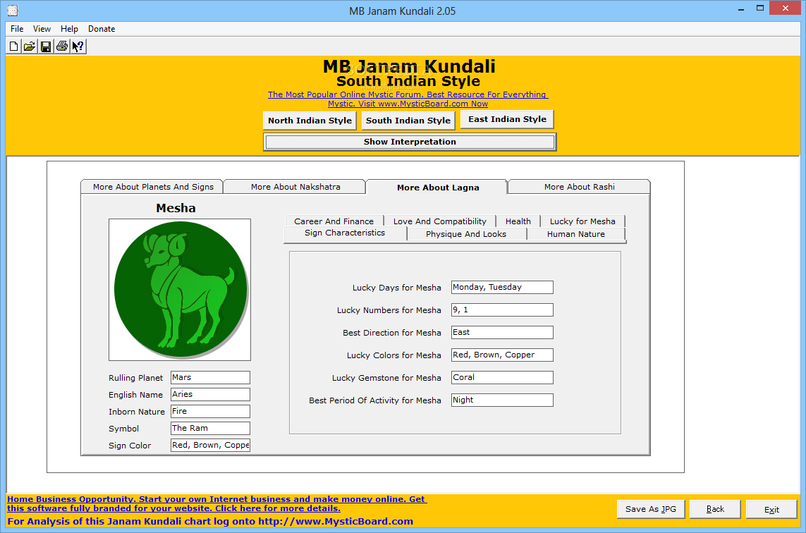 button, you can obtain a reading of results MB Janam Kundali returned