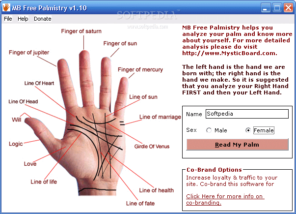 MB FREE Palmistry screenshot 1 - MB FREE Palmistrys main window ...