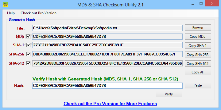 Download MD5 & SHA Checksum Utility 2 1