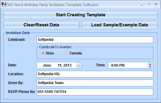 MS Word Birthday Party Invitation Template Software screenshot 1 ...