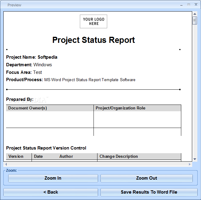download ms word project status report template software 7 0