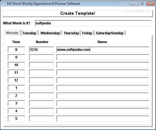 download ms word weekly appointment planner software 7 0