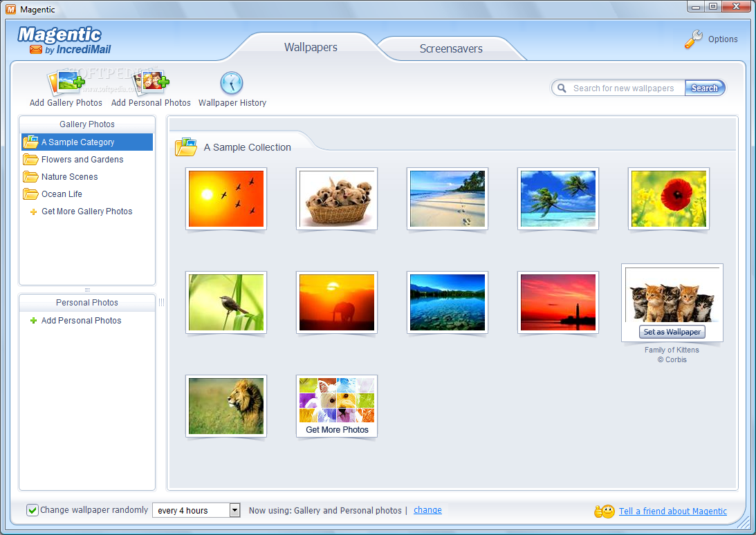 """Magentic's main window shows the Wallpapers tab, that allows you to choose"
