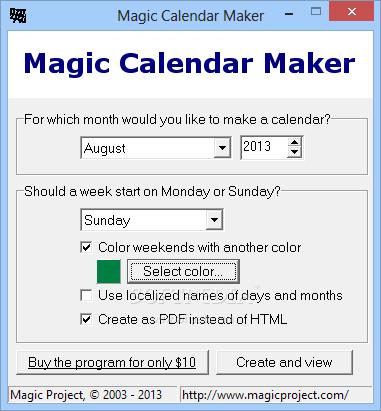 download magic calendar maker 3 6