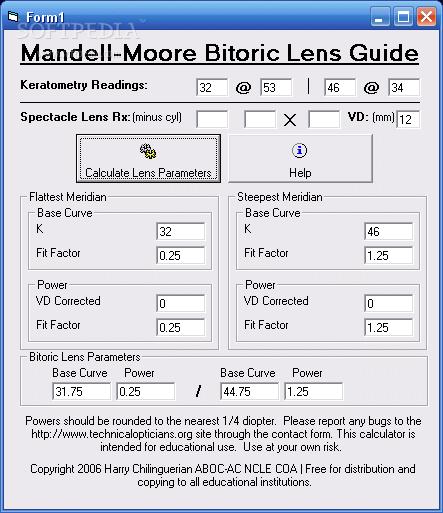 mandell moore bitoric calculator 1.0