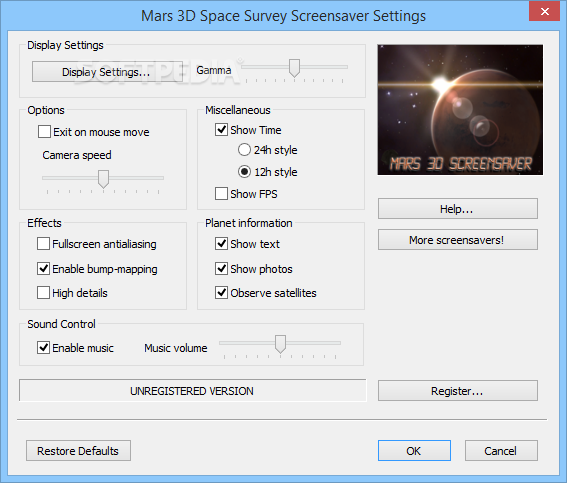 Mars 3d space survey screensaver screenshot 2 this is a preview of