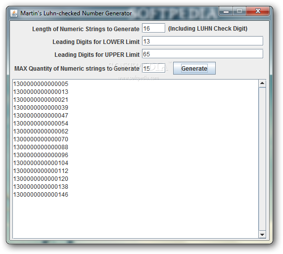 Download Martin's Luhn-checked Number Generator