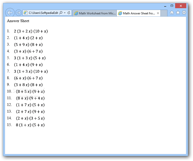 Download Math Worksheet Generator 1.0.2009.903