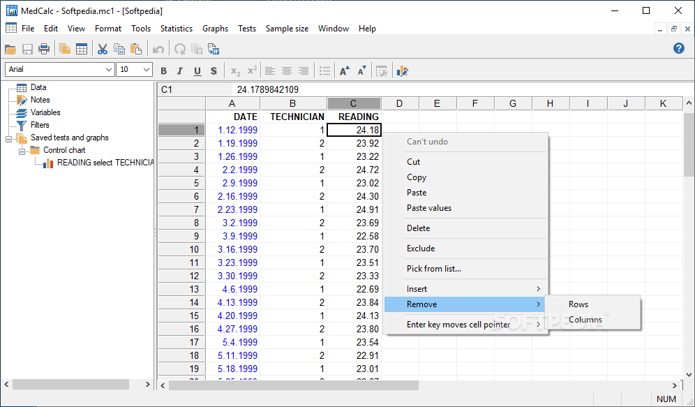 MedCalc screenshot 1 - The main window allows you to open and edit the document you get statistical information out of.