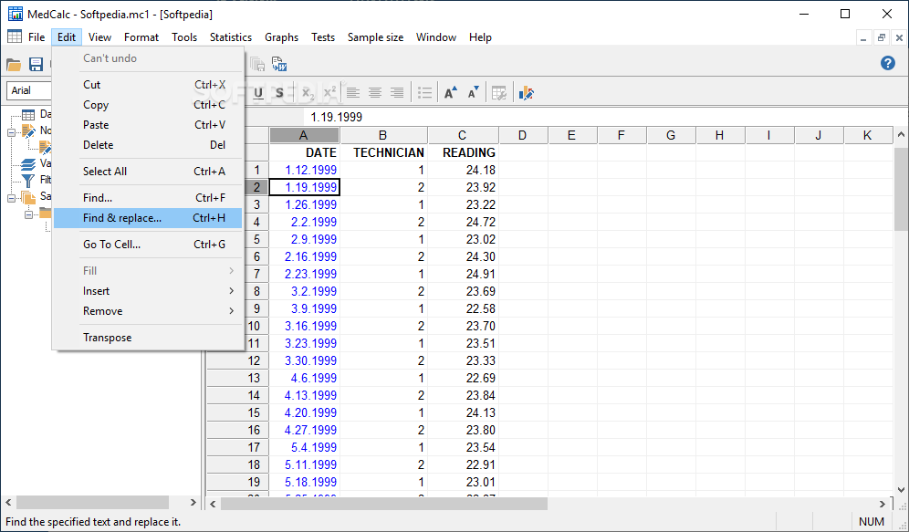 MedCalc screenshot 4 - Choose between active toolbars and open the application in full screen by accesing the View mwnu.