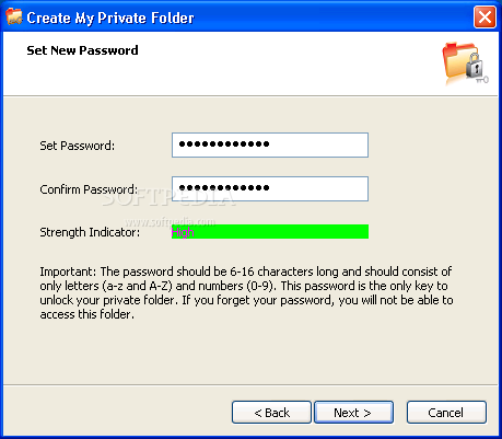 Microsoft Private Folder screenshot 1