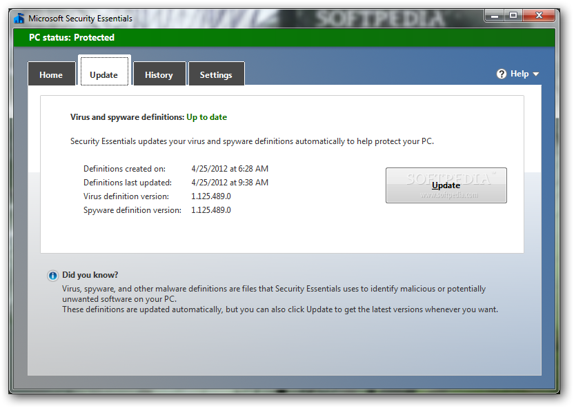 microsoft security essential update free download window 7