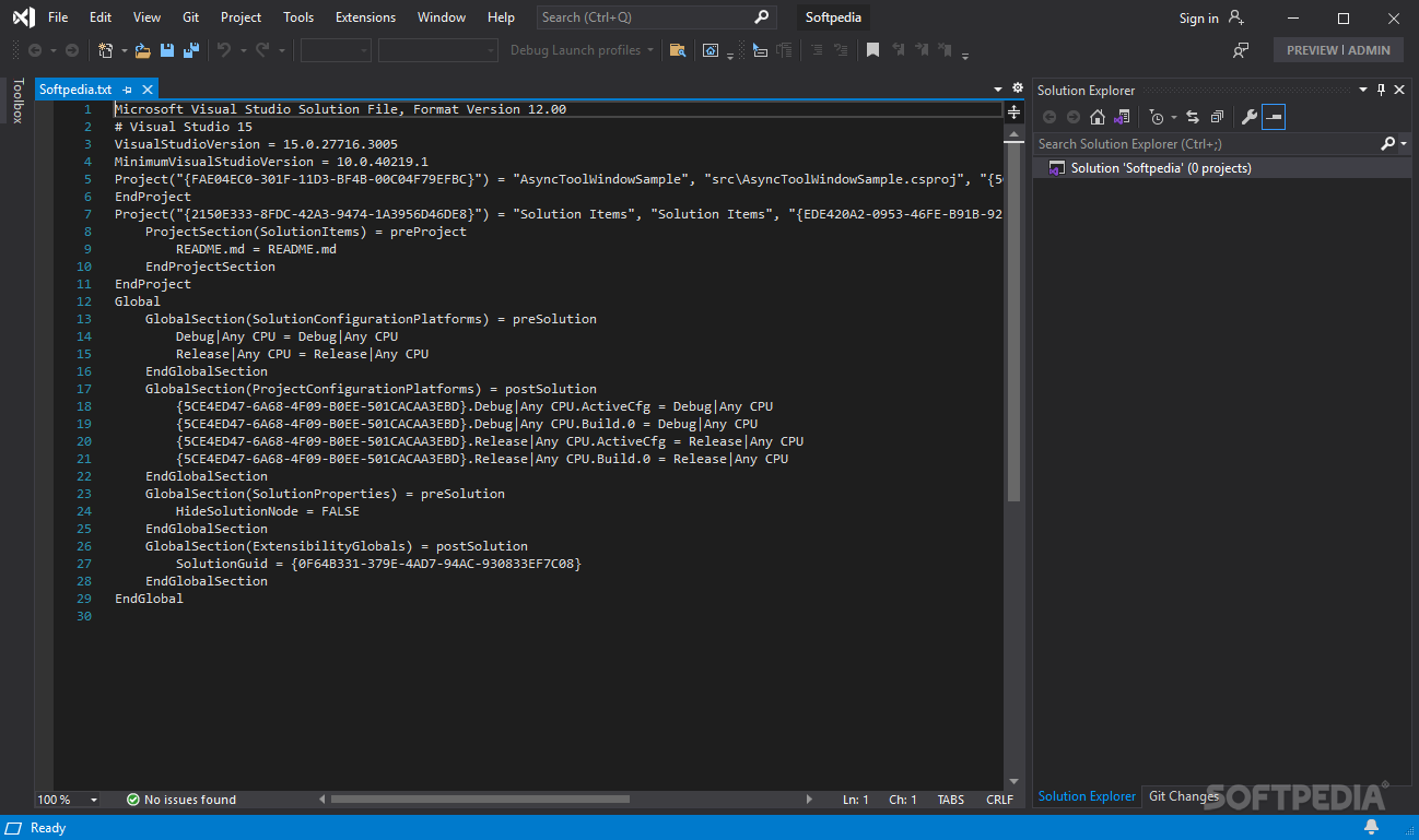 Visual Studio 2013 screenshot